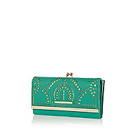 Green laser cut clip top purse