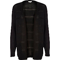 Black thick and thin stripe cardigan