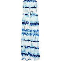 Blue tie dye side split bandeau maxi dress