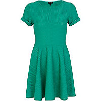 Green textured skater dress