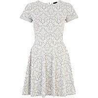 Grey and white jacquard skater dress
