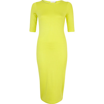 Lime half sleeve midi column dress