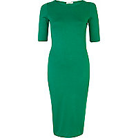 Green half sleeve midi column dress
