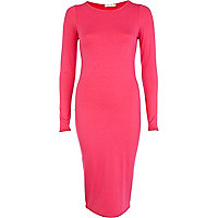 Pink long sleeve midi column dress