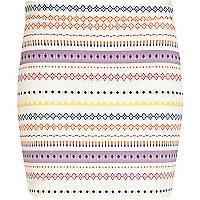 White aztec stripe print mini skirt
