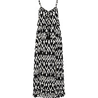 Black and white aztec print maxi dress
