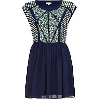 Navy embellished panel skater dress