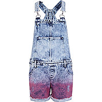 Light acid wash dip dye denim dungarees