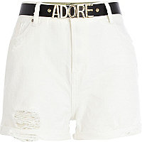 White high waisted belted denim shorts