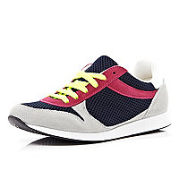 Pink colour block trainers