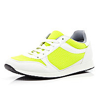 Yellow colour block trainers