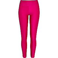 Pink wet look high waisted leggings