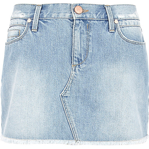 Light wash frayed denim mini skirt