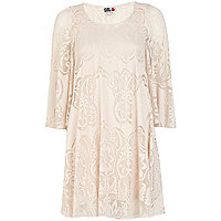 Cream Chelsea Girl lace angel sleeve dress