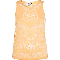 Orange Chelsea Girl lace pattern shell top