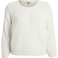 White rib geometric pattern cropped jumper