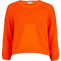 Orange rib geometric pattern cropped jumper
