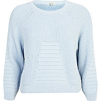 Blue rib geometric pattern cropped jumper