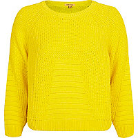 Yellow rib geometric pattern cropped jumper