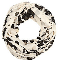 Cream graffiti print snood