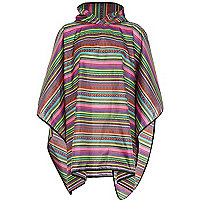 Pink aztec print poncho in a bag