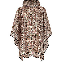 Beige animal print poncho in a bag