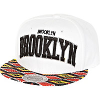 White Brooklyn ikat peak print trucker hat
