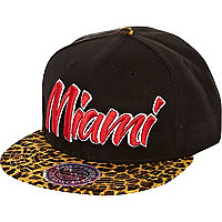 Black Miami leopard print peak trucker hat