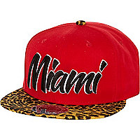 Red Miami leopard print peak trucker hat