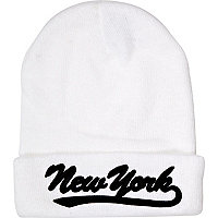 White New York beanie hat