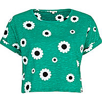 Green daisy print cropped t-shirt
