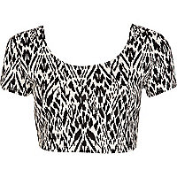 Black and white tribal print cropped t-shirt