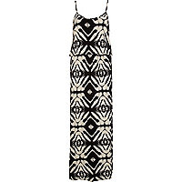 Beige symmetrical print waisted maxi dress