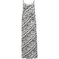 Black geometric print cami maxi dress