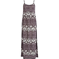 Black aztec print waisted cami maxi dress