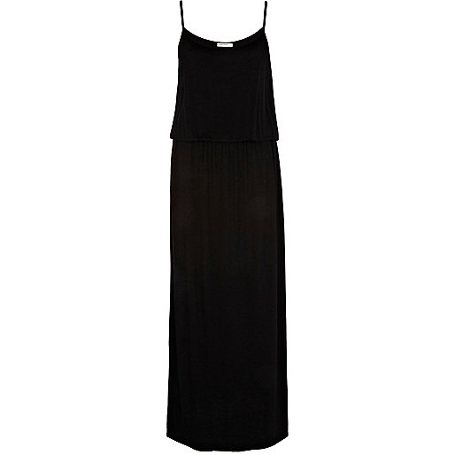 Black waisted cami maxi dress