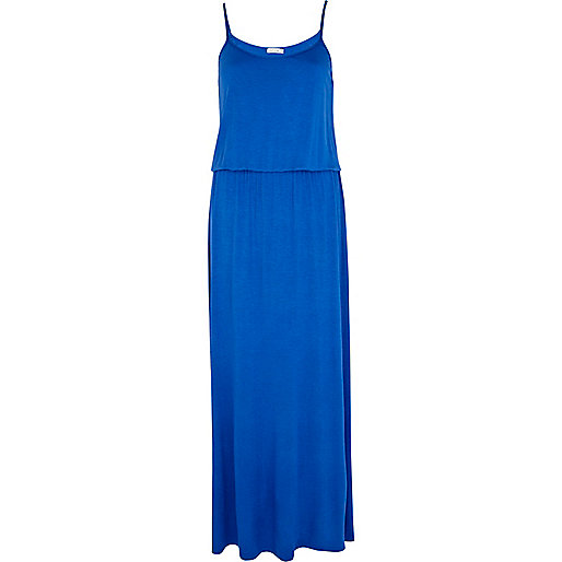 Blue waisted cami maxi dress