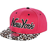 Pink New York leopard peak trucker hat