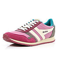 Pink Gola colour block trainers