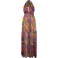 Pink Pacha feather animal print maxi dress