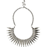 Silver tone leaf spike necklace