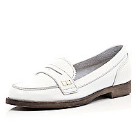 White leather classic slip on loafers