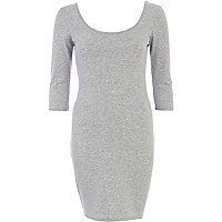 Grey marl scoop neck backless ballerina dress
