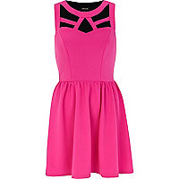 Pink cut out sleeveless skater dress