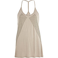 Beige heatseal pattern cami top