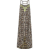 Brown animal print fluro neck maxi dress