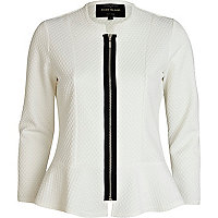 White textured peplum jacket