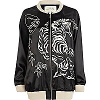 Black tiger embroidered bomber jacket