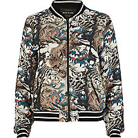 Green tiger print bomber jacket