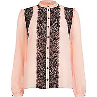 Pink lace front frilly blouse
